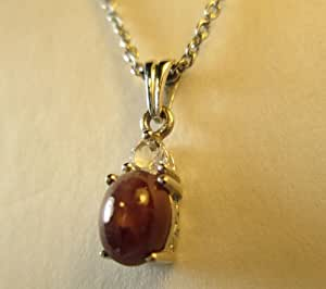 Kenyan Star Ruby Fissure Filled Golconda Diamond Topaz Pendant With 24 in. Stainless Steel Chain - K20000173