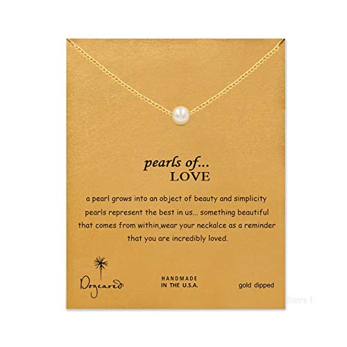 LANG XUAN Friendship Pearl Necklace Lucky Elephant Star Pearl Circle Pendant Necklace for Women Gift Card (Pearl Gold)