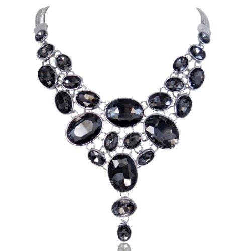 EVER FAITH Silver-Tone Art Deco Black Rhinestone Bib Statement Necklace