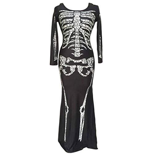 Deatu Ladies Dress Teen Girls Women Horror Ghost Skeleton Costume