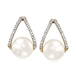 Cultured Pearl and Diamonds Gold Drop Earrings