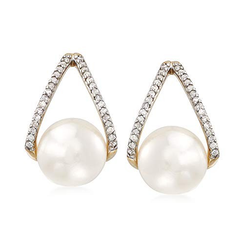 Ross-Simons 8-8.5mm Cultured Pearl and .12 ct. t.w. Diamond Drop Earrings in 14kt Yellow Gold (Diamond And Pearl Earrings)