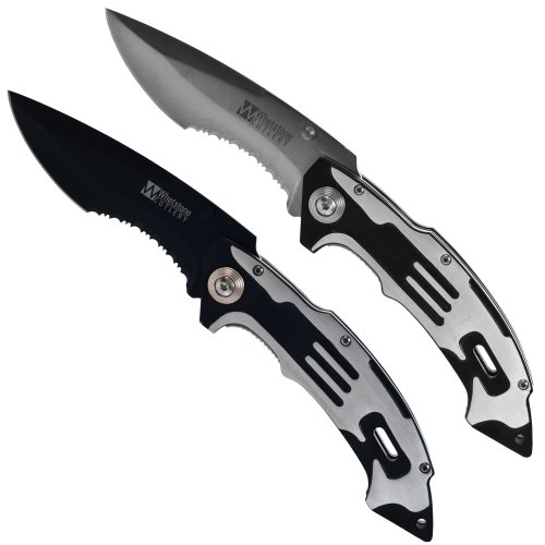 Whetstone Cutlery 2 Piece Set of Matrix Pocket Knives with 1 Black Blade and 1 Silver Blade