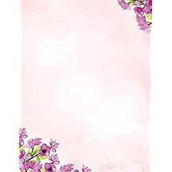 200 Stationery Writing Paper, with Cute Floral Designs Perfect for Notes or Letter Writing - Violets