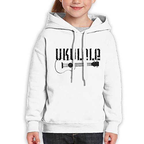 Vintopia Boys Cool Ukulele Funny Sports White Hoodie L