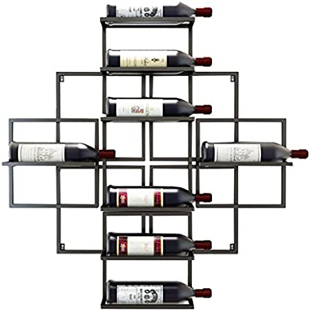 AZHOM Estantes de vino para colgar en la pared Estantes para almacenamiento de equipos de vino y hierro para colgar botellas de vino - Sostiene 8 botellas de vino - 3 colores disponibles, 80x10x80cm e