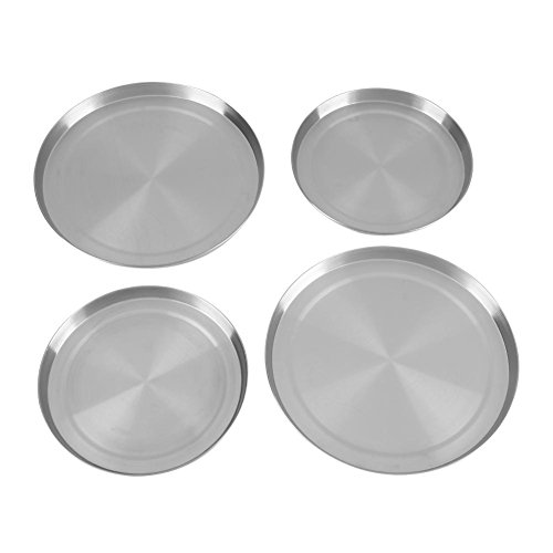 Stove Burner Covers, Pack of 4 Stainless Steel Kitchen Stove Top Round Burner Covers Cooker Protection Pan Set Silver