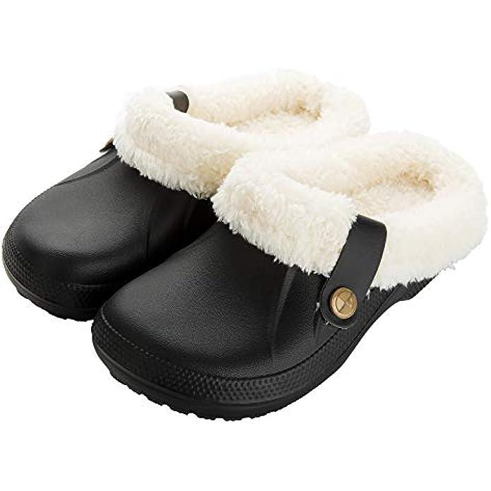 SMajong Men's Women's Waterproof Slippers Winter Lined Clogs Fur Garden Shoes Warm Plush Home House Slippers Indoor Outdoor Mules