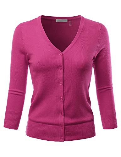 EIMIN Women's 3/4 Sleeve V-Neck Button Down Stretch Knit Cardigan Sweater Magenta S