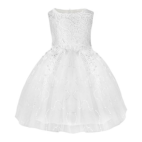 SKST Flower Girl Dress Lace Knee-Length Tutu Wedding Birthday Party Princess Skirt For Toddler Baby (5)
