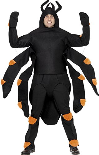 (Smiffys Men's Spider Costume, Top, Hood, Abdomen, Knee and Ankle Pads, Halloween, One Size,)
