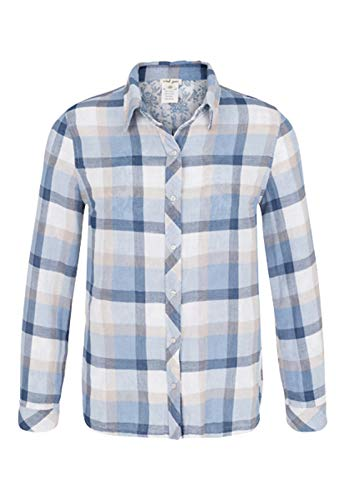 (Tribal Women's Reversible Long Sleeve Plaid and Floral Shirt, surf Blue, X-Large)