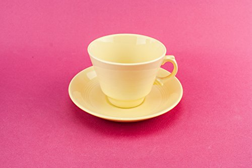 Vintage Pottery Jasmine Cup Saucer Serving TEACUP Medium Mid-Century Modern Wood Sons Pale Yellow English 1940s LS
