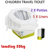 Toddler Emergency Toilet, 2 Packs Folding Portable Travel Potty Training Seat Kids Disposable Toilet with 5pcs Potty Liners for Road Trip, Camping, Traveling and Car Essential