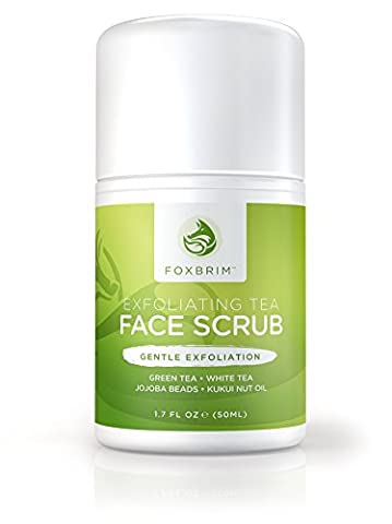 Exfoliating Face Scrub - Natural & Organic - Moisturize while Cleansing and Repairing Skin - Natural Facial Scrub with Green & White Tea, Avocado & Olive Butters, and Aloe - Foxbrim - 1.7 Ounce Energizing Shampoo