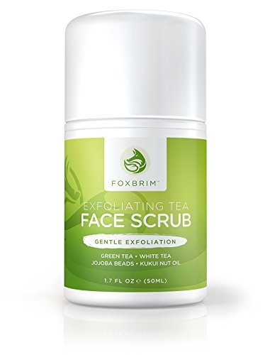 Exfoliating Face Scrub - Natural & Organic - Moisturize while Cleansing and Repairing Skin - Natural Facial Scrub with Green & White Tea, Avocado & Olive Butters, and Aloe - Foxbrim 1.7oz