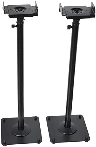 VideoSecu 2 Heavy Duty PA DJ Club Adjustable Height Satellite Speaker Stand Mount – Extends 26.5 to 47 i.e. Bose, Harmon Kardon, Polk, JBL, KEF, Klipsch, Sony, Yamaha, Pioneer and Others 1B7