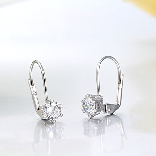1pair Cute Platinum Plated Six Claw Solitaire Round AAA CZ Zircon Small Clip On Earrings - Claw Solitaire Earrings