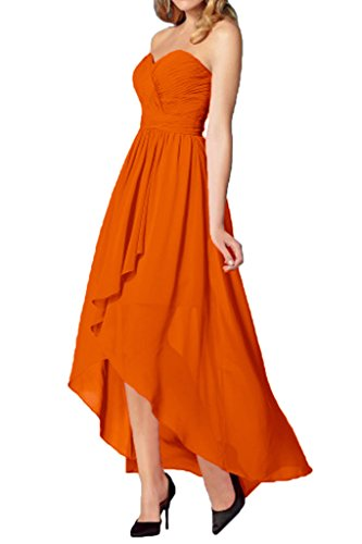 Elegant Orange Lang Abschlussballkleider A Chiffon Herzausschnitt Abendkleider Braut Partykleider mia Hi lo linie La qHO4EE
