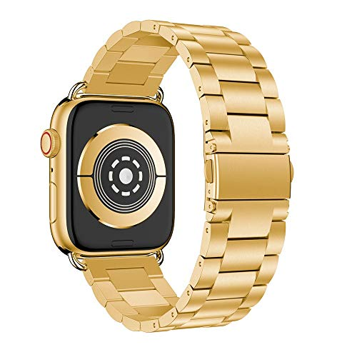 Kanzd Replacement Stainless Steel Watch Band Loop Strap for Apple Watch Series 4 40mm / 44mm (Gold, 40mm)