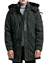 Mens Winter Hooded Coats Thickened Cotton Parkas Windproof Outdoor Jackets Black