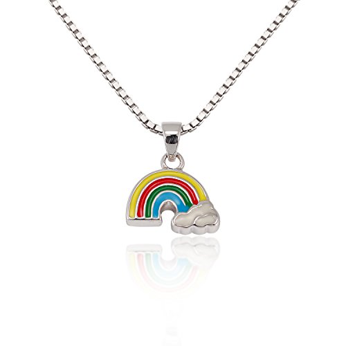 Children's 925 Sterling Silver Colorful Rainbow Cloud Pendant Necklace 13-15 inches (Rainbow Pendant Necklace)
