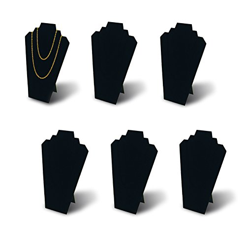 Display Jewelry Showcase Stands - 7TH VELVET 6pcs/ Pack 12.5inches Black Velvet Necklace Easel Jewelry Organizer Displays Stand with Reinforced Bracket