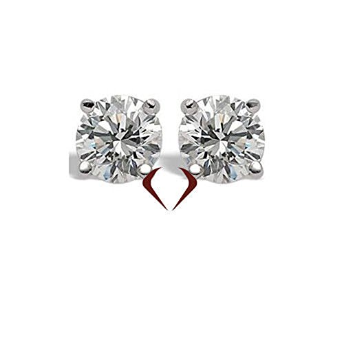 AGI 2.09CT E SI2 Ex Ex Ex Round Cut Diamond Stud Earrings 14K White Gold