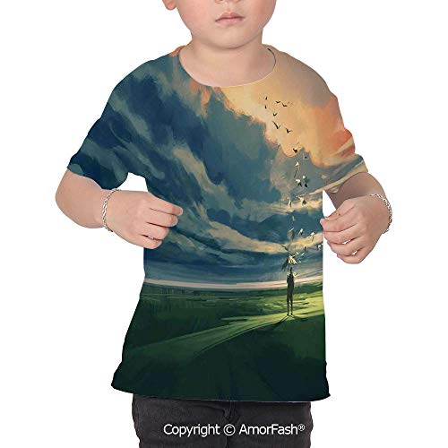 PUTIEN Abstract Home Decor Girls Short-Sleeve Midweight T-Shirt,Polyester,Man Holding a -