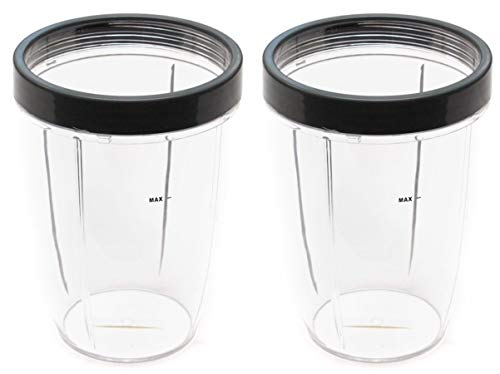 NUTRiBULLET 24-Ounce Cups with Screw-Off Lip Ring by NutriGear (Pack of 2) | NutriBullet Replacement Parts & Accessories | Fits NutriBullet 600w and Pro 900w Blender (Difference Between Magic Bullet Blender And Nutribullet)