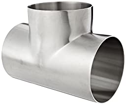 Dixon B7WWW-R400P Stainless Steel 316L Polished Fitting, Weld Short Tee, 4\