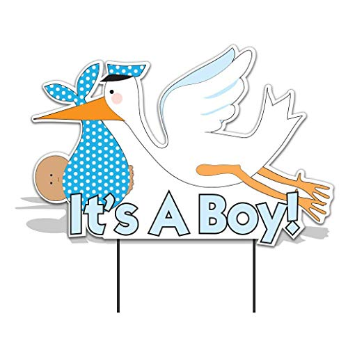 VictoryStore Yard Sign Outdoor Lawn Decorations -  It's a Boy Stork, Baby Announcement Yard Sign (Medium Skin Toned Baby) -