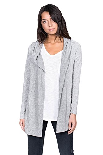 (A+D Womens French Terry Open Front Hoodie Cardigan Jacket Top (H. Grey, Large))