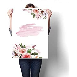 "Anshesix Canvas Painting Sticker Watercolor Hand-Painted Flower Peony Wedding Invitation Card Template Illustration Print On Canvas for Wall Decor 32""x36"""