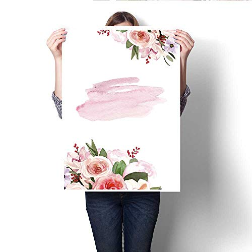 Prints Watercolor Hand-Painted Flower Peony Wedding Invitation Card Template Illustration Customizable Wall Stickers 20