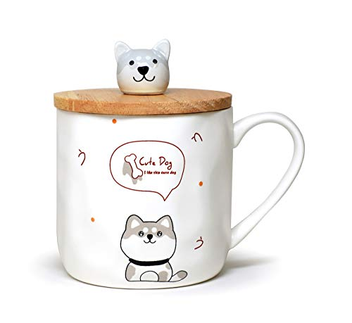 Cute Dog Mug Ceramic Mug with Spoon and Wood Lid Cute Design Fine Porcelain Cups Perfect For Coffee, Tea and Beverage