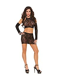 Sexy Women's Lace Mini Skirt, Matching Halter Top And Gloves Lingerie Set