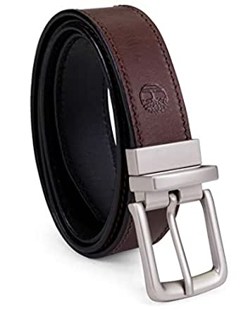 Timberland Men's Classic Leather Belt Reversible From Brown To Black, Brown/black, 32