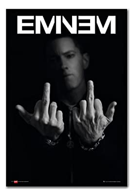 Eminem Middle Fingers Poster Magnetic Notice Board Black Framed - 96.5 x 66 cms (Approx 38 x 26 inches)