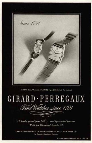 Exciting 1946 Advertisement for Fine Watches by Girard Perregaux Original Paper Ephemera Authentic Vintage Print Magazine Ad/Article