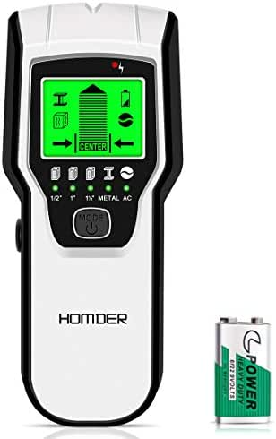 Homder Stud Finder Sensor Wall Scanner,5 in 1 Multifunctional Electronic Wall Center Sensor Detector with Digital LCD Display & Sound Warning for Wood,Live AC Wires,Metal,Studs Detection