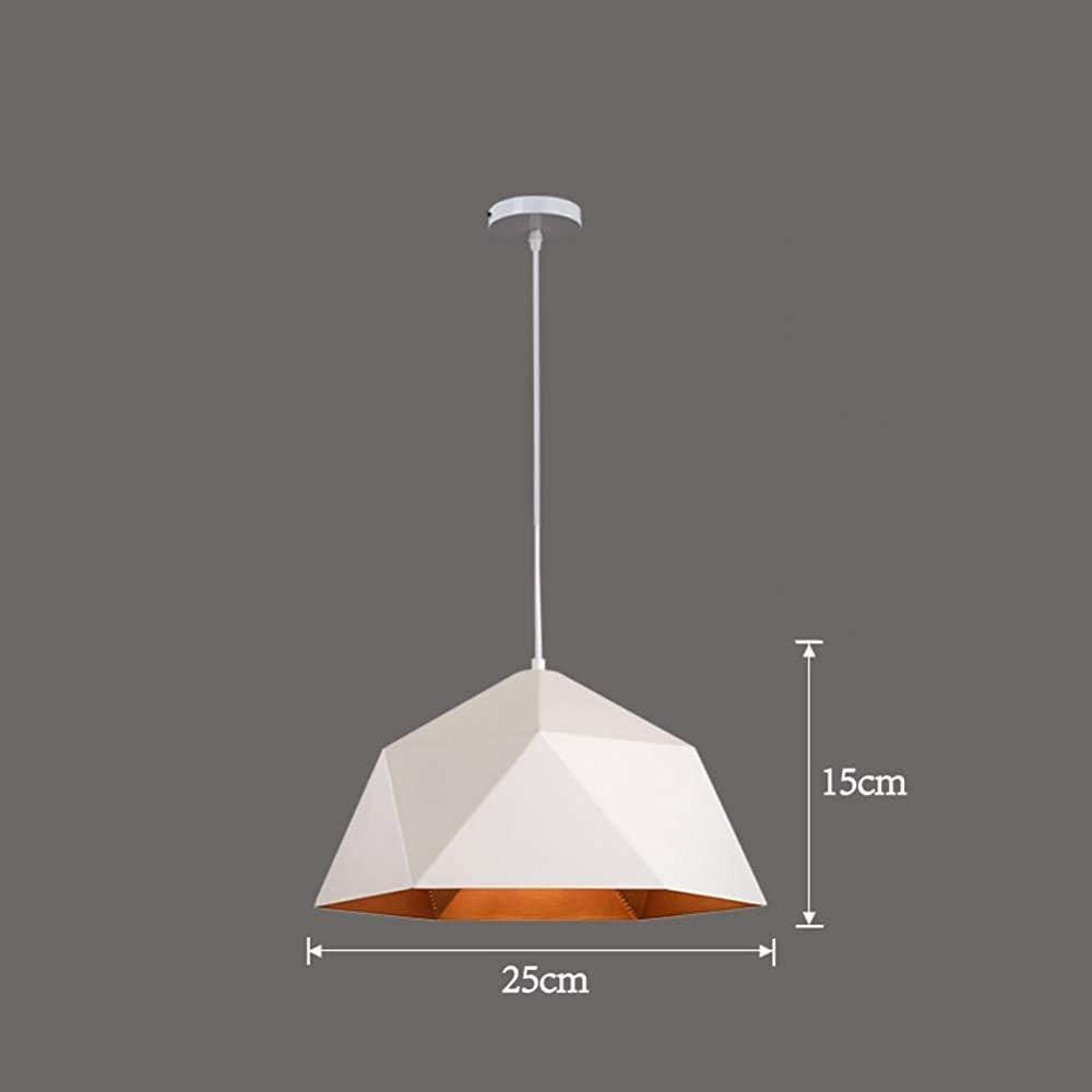JXQ Cars Lámpara de Metal Industrial con Pantallas de iluminación de Techo de Oro Moderna Interior Colgante Diamond Light Lámparas de Restaurante Living,25CM-White: Amazon.es: Hogar