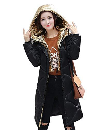 Verdicken Longsleeve Gold Unikat Warm Lange Mantel Damen Oberbekleidung Winter Oversize Style Kapuzenmantel Freizeit Parka Steppmantel Relaxed 1 qBxPwfI