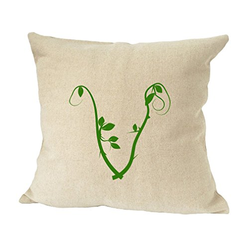 ''V '' Wood Branch Green Monogram Letter V Bed Home Decor Faux Linen Pillow Cover by Style in Print (Image #1)