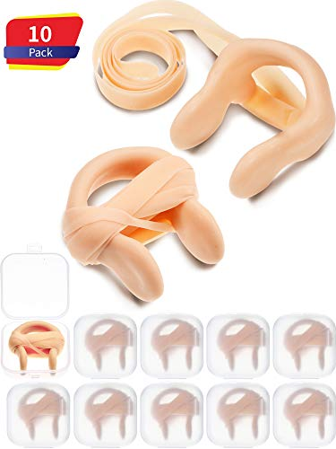 Nose Clip Silica Gel Swimming Nose Plug Swimming Accessories with Elastic String for Kids and Adults, Beige (10 Pieces)