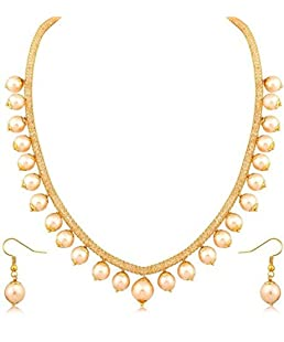 Fashion Jewels Designer Exclusive Dazzling Moti Stylish Gold Plated AD Chain Necklace with Earrings for Women(White)