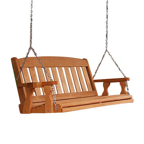 Amish Heavy Duty 800 Lb Mission 4ft. Treated Porch Swing With Cupholders – Cedar Stain