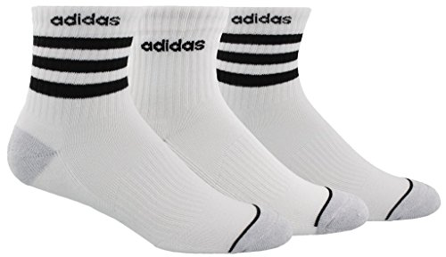 - adidas Men's 3-Stripe High Quarter Socks (3-Pack), White/Clear Onix Marl/Black, Size 6-12