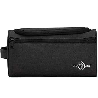 DELANEY LANE Toiletry Bag - The Globetrotter - Quality Hanging Travel Organiser (Black)