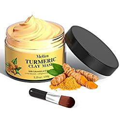 Turmeric Face Mask,Meliza Clay Face Mask with Turmeric and Kaolin Clay,Detox Skin Care Face Mask with Face Mask Brush…